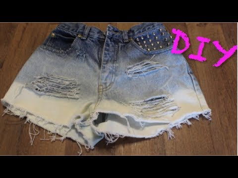 DIY: Ombre Distressed High-Waisted Denim Shorts | CHEAP & EASY!