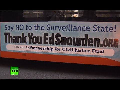 Anti-surveillance buses thanking Snowden cruise Washington