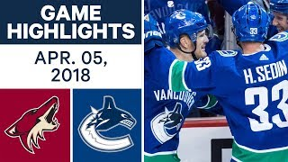 NHL Game Highlights | Coyotes vs. Canucks - Apr. 05, 2018