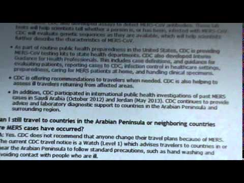 CDC MERS (MIDDLE EAST RESPIRATORY SYNDROME COULD COME 2 USA?
