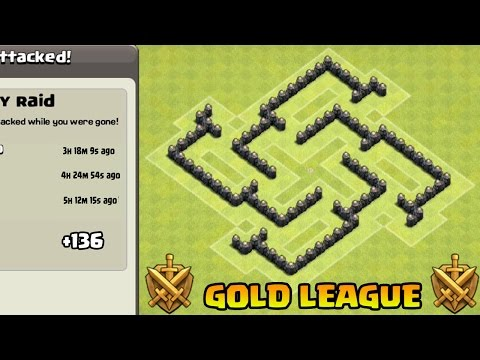 Clash Of Clans - Town Hall 5 Defense CoC TH5 TROPHY / HYBRID Base Defense Strategy
