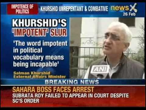 UPA minister Salman Khurshid calls Narendra Modi 'impotent'