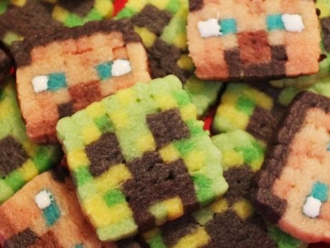 Minecraft Creeper and Steve Cookies - Quake N Bake
