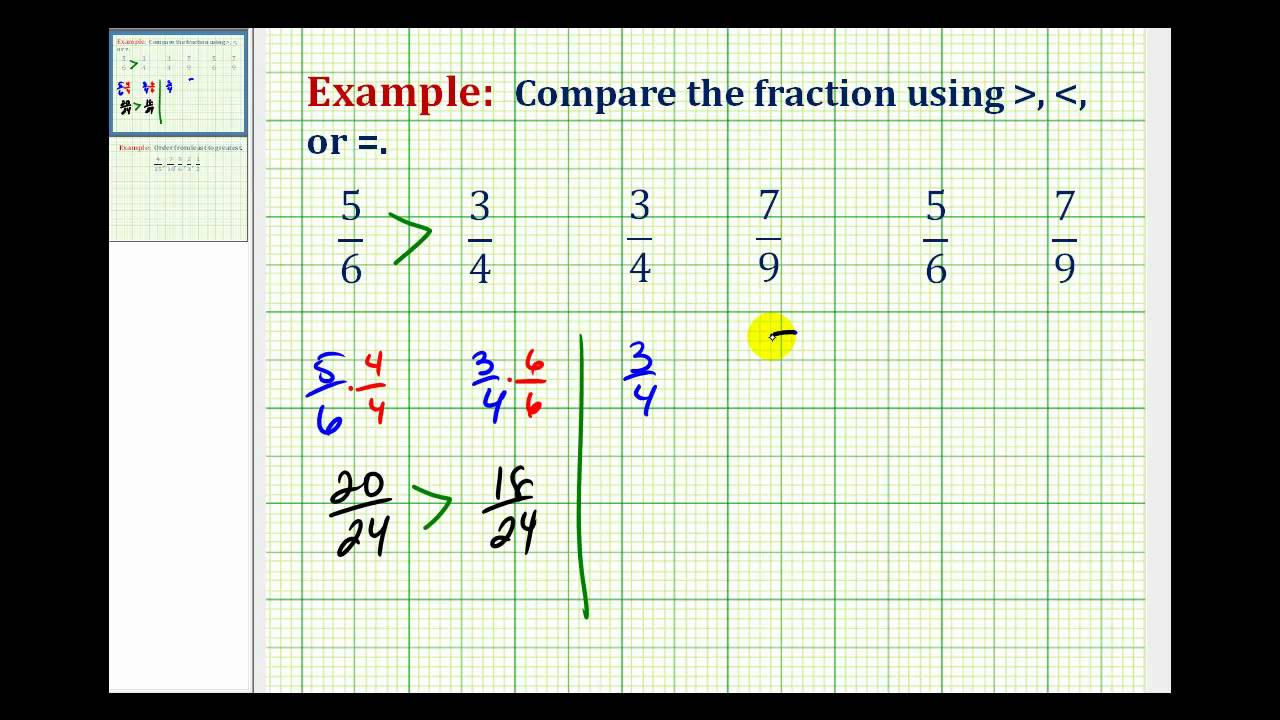 Example: Comparing Fractions with Different Denominators using ...