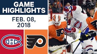 NHL Game Highlights | Canadiens vs. Flyers - Feb. 8, 2018