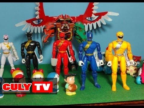 Siêu nhân gao gọi robot siêu thú giải cứu nhóm bạn Doremon phá hủy xe bồn đồ chơi - kid toy funny