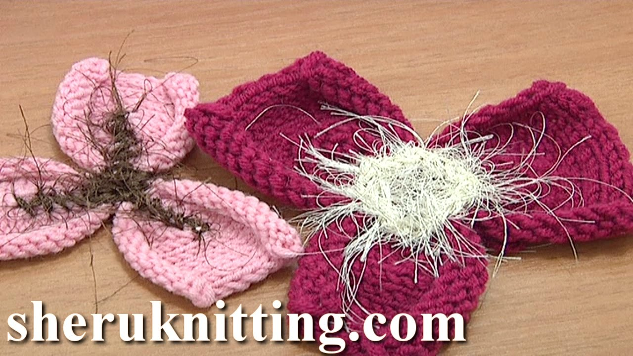 Free Knitting Flower Patterns Tutorial 21 Easy to Knit 3-Petal Flower - YouTube