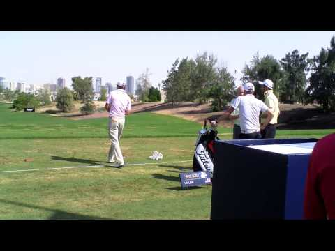 Peter Uihlein swing, on the range ahead of the 2013 DP World Tour Championship Dubai