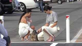 EXCLUSIVE - Kendall Jenner and Kourtney Kardashian arrive at Port Canto in Cannes