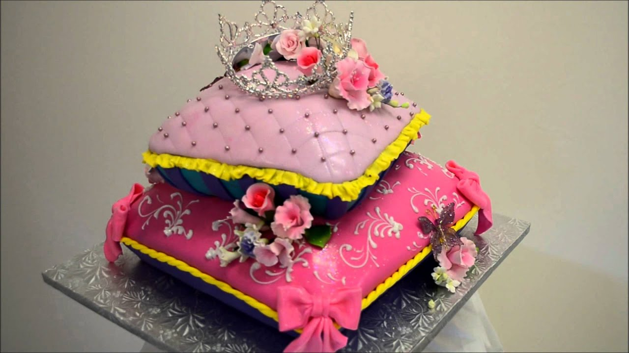 Baby princess theme pillow cake - Fondant icing cake ideas ...