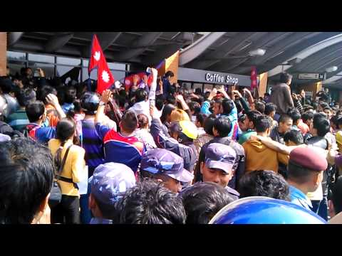 Nepal Cricket Team Welcoming Fans at TIA