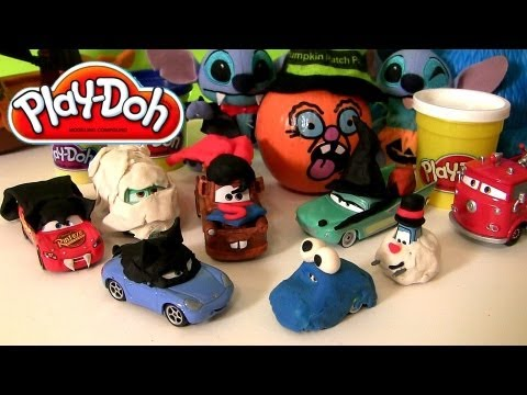 PlayDoh Superheroes Cars Superman Mater Catwoman Sally Cookie Monster Dracula