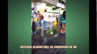 Goteiras causam alagamento na rodovi�ria de Belo Horizonte