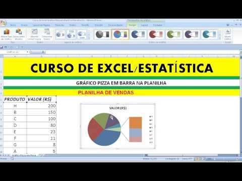 Curso de Excel Gráfico Pizza em Barra na Planilha Gráfico Circular em Setor na Planilha Excel