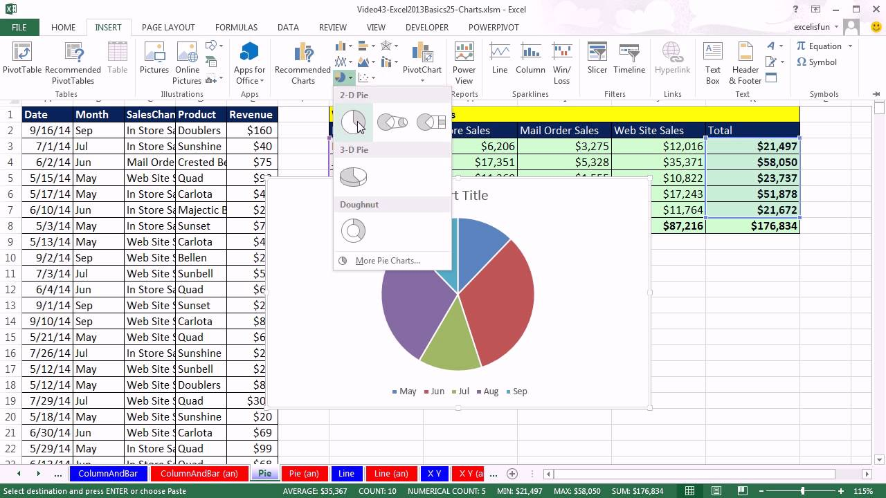 office 2013 class 43  excel basics 25  excel 2013 charts  chart types  chart formatting  more