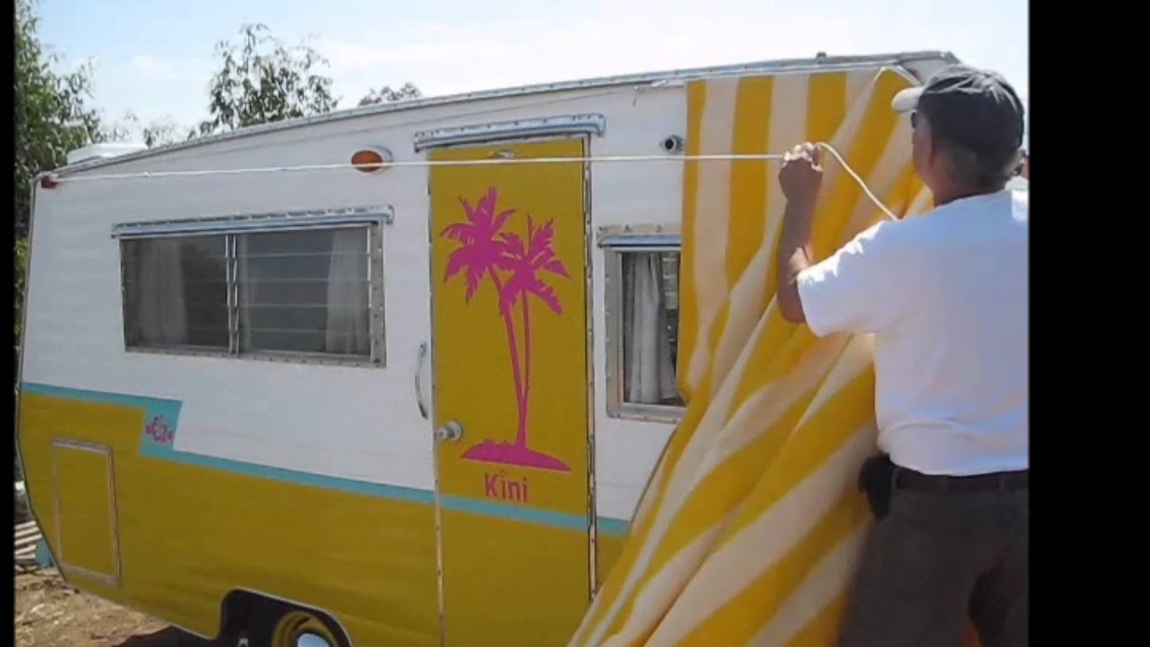 Hanging A Vintage Trailer Awning By Yourself Youtube
