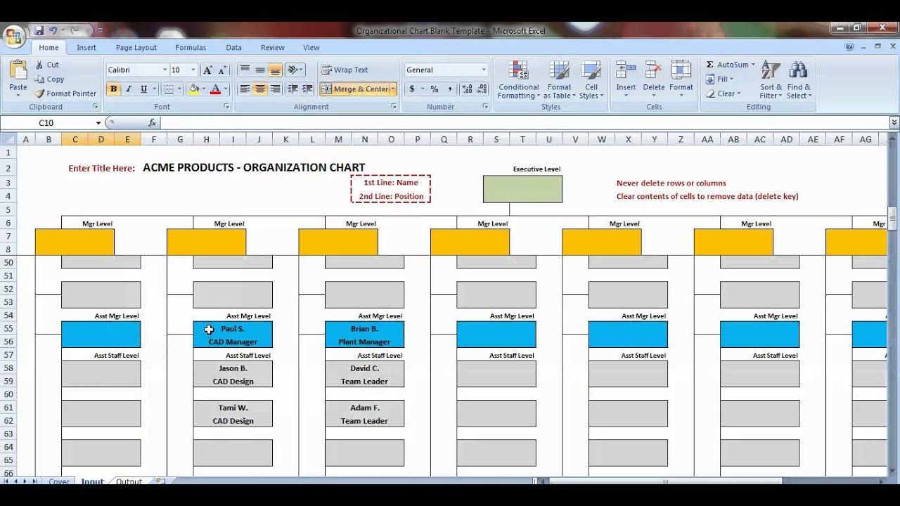 Excel Organization Chart Template Demonstration - YouTube