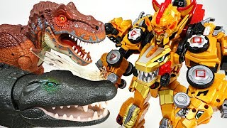 DinoCore Ultimate D-Buster Tyranno! Protect Tayo from giant dinosaur and crocodile! - DuDuPopTOY