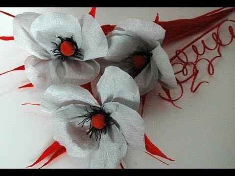 Paper flowers with pompons. Kwiaty z bibuły DIY