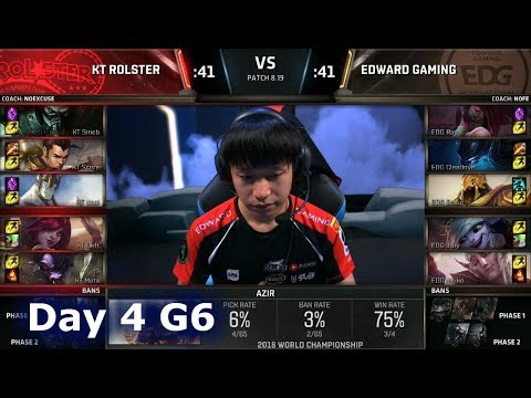 KT vs EDG | Day 4 Group Stage S8 LoL Worlds 2018 | KT Rolster vs Edward Gaming