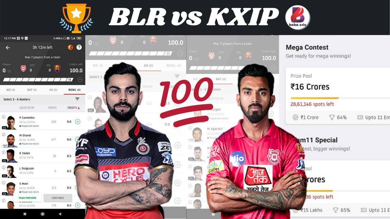 BLR vs KXIP Live Dream11 Preiction and Grand League Team