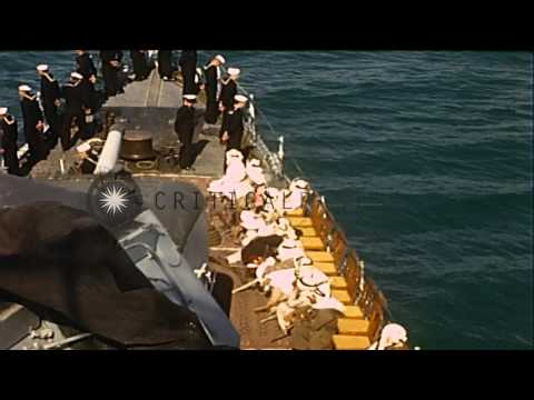King Ibn Saud and Colonel William A. Eddy, USMC, on the US Destroyer Murphy, at t...HD Stock Footage