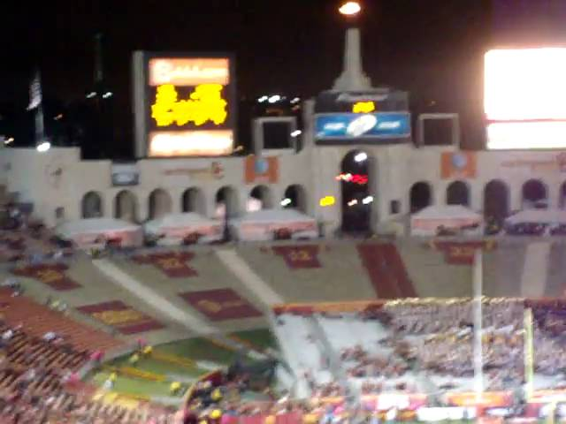 Oregon Ducks flag in the USC endzone after another score @ USC 10-30-2010