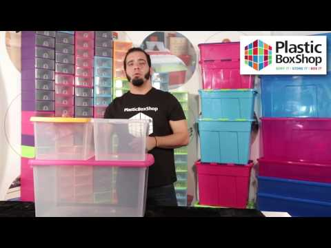 Set of 4 - 3.5 Litre Wham Plastic Storage Boxes with Mixed Coloured Lids