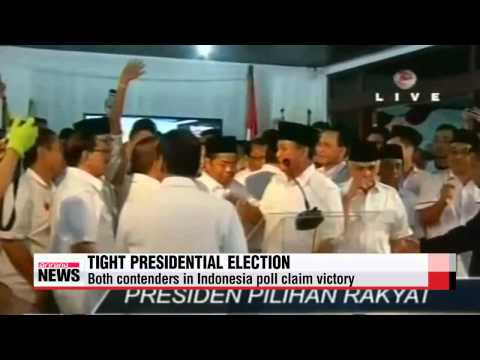 Both contenders in Indonesia presidential poll claim victory
