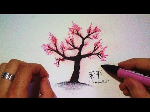 How to draw a Japanese Cherry tree (Time Lapse)