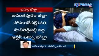 ExTV-8 injured as bus overturns in Anantapur district