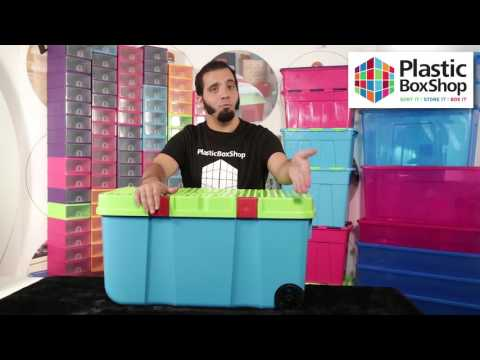 Large 90lt Funky Tough Cart Plastic Storage Boxes with Two Wheels - Pallet Deal 30 Boxes