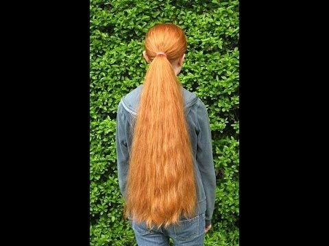 haircut on really long and thick red hair all cut off to a bob style