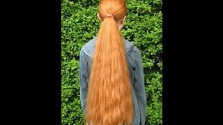Haircut On Really Long And Thick Red Hair All Cut Off To A