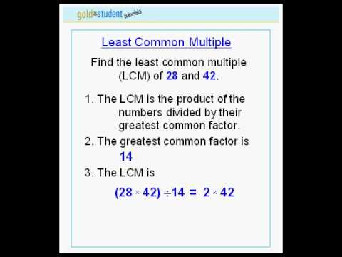 Goldstudent Com Least Common Multiple 2nd Tutorial Youtube