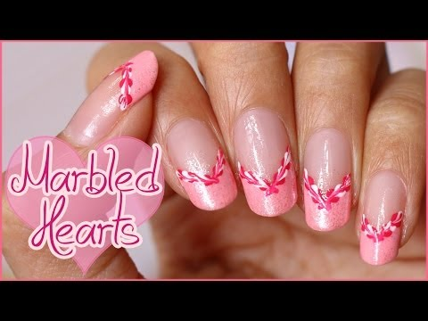 Marbled Hearts French Manicure