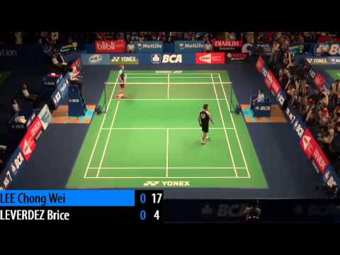 R16 - MS - LEE Chong Wei vs Brice LEVERDEZ - 2014 Badminton Indonesia Open