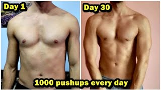 1000 PUSHUPS EVERY DAY for 30 DAYS CHALLENGE! MY BODY TRANSFORMATION - Motivational