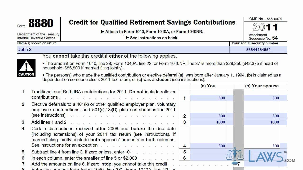 Learn How to Fill the Form 8880 Credit for Qualified ...