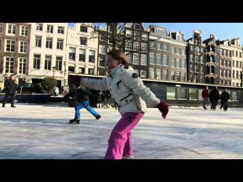 Ice skating on Amsterdam Canals Winter 2012 • Cinematic Orchestra – To Build A Home