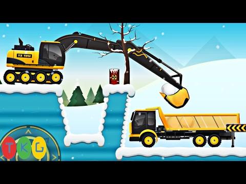 Xe xúc đất, Máy ủi đất, Xe cần cẩu, Xe tải 1 | CONSTRUCTION CITY 2 WINTER Level [1-6] | TopKidsGames