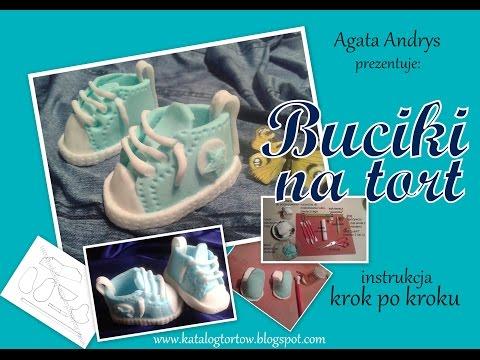 BUCIKI NA TORT instrukcja krok po kroku / FONDANT ICING BABY SHOES TUTORIAL
