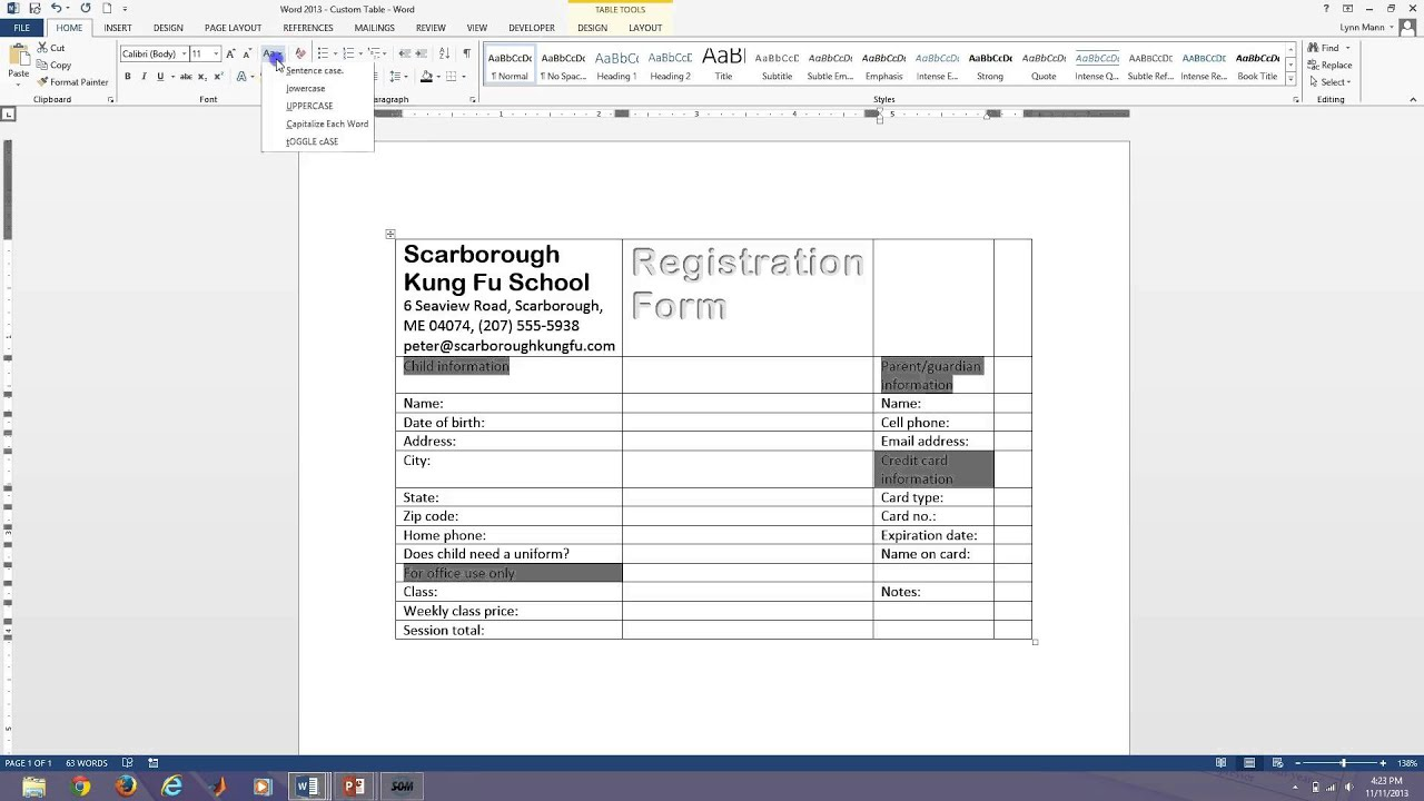 how to create fill in forms in word 2007