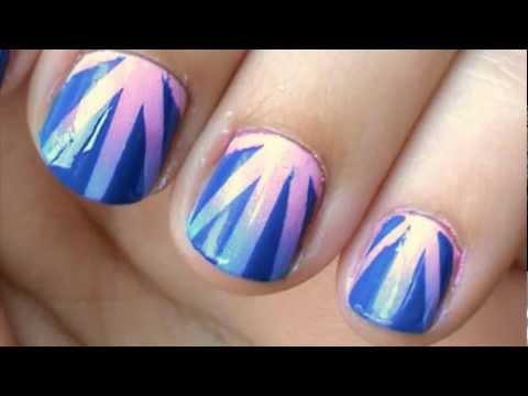gradient nail art tutorial using tape easy  youtube