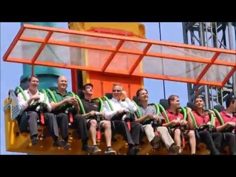 Six Flags CEO Rides Zumanjaro: Drop of Doom..TWICE!