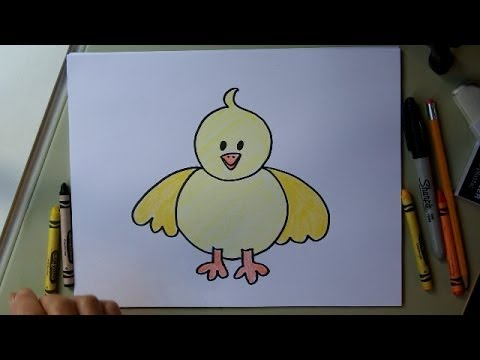 How to Draw a Baby Chick. Step by step easy drawing lesson. Tutorial for kids or adults.