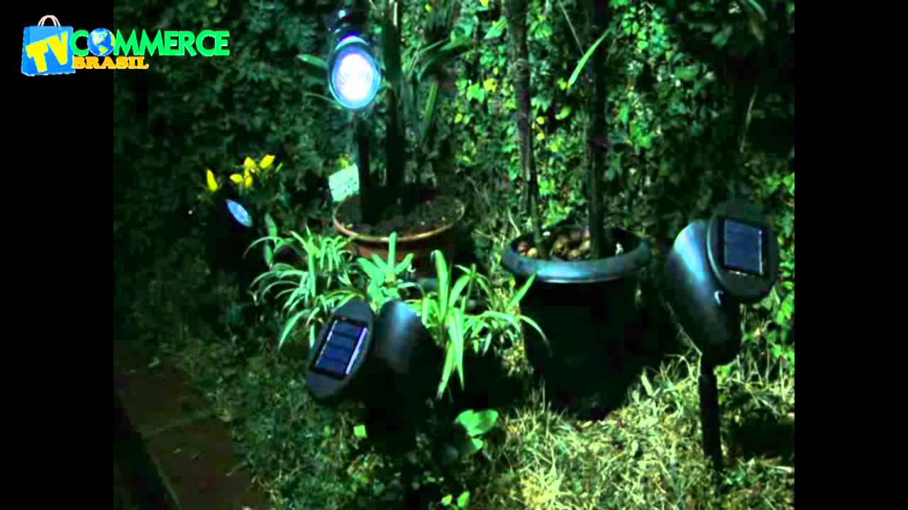 iluminacao de jardim solar:Luminária Solar Jardim PVC Rígido Spot 1383 3 Leds – YouTube