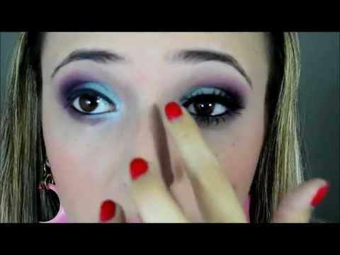 Aprenda a fazer uma maquiagem com o Tutorial color azul e roxo - Like a Make - Taisa Makeup
