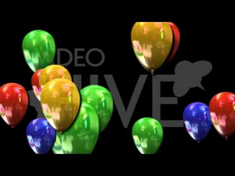 Beautiful Color Ballons Flying Loop with transparency