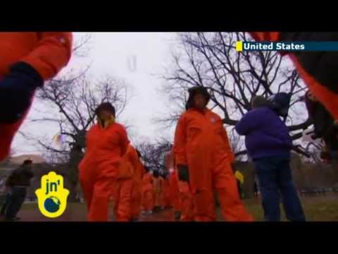 Orange jumpsuit rally at White House: Protesters urge closure of Guantanamo Bay prison camp in Cuba